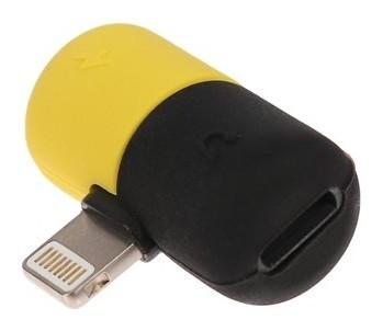 Переходник Luazon, с Lightning на 2xlightning, резиновый, жёлто-чёрный  LuazON