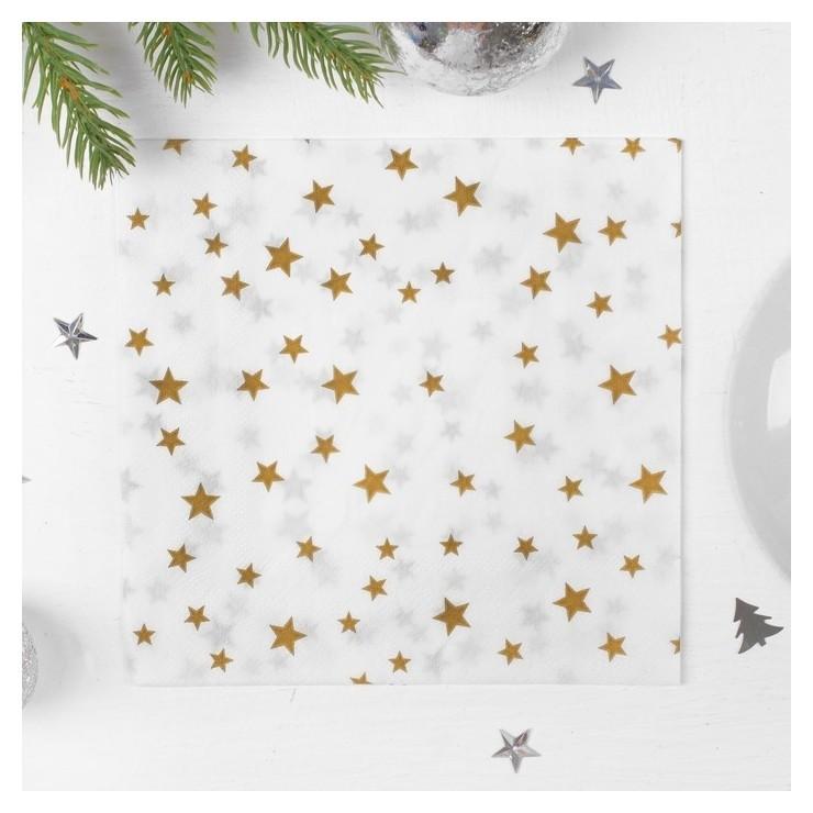 Салфетки бумажные «Звёзды», 33х33 см, набор 20 шт., цвет золотой  Страна Карнавалия