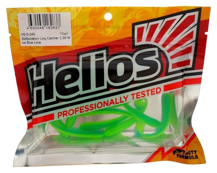 Виброхвост Helios Liny Catcher 6 см Blue Lime Hs-5-040, набор 12 шт.  Helios