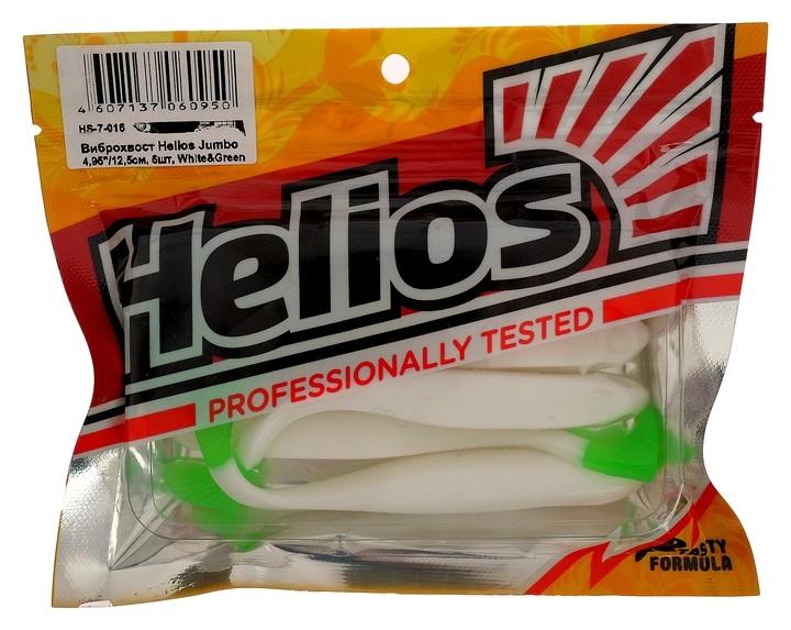 Виброхвост Helios Jumbo 12.5 см White & Green Hs-7-016, набор 5 шт.  Helios