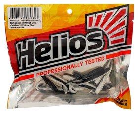 Виброхвост Helios Liny Catcher 6 см Black & White Hs-5-023, набор 12 шт.
