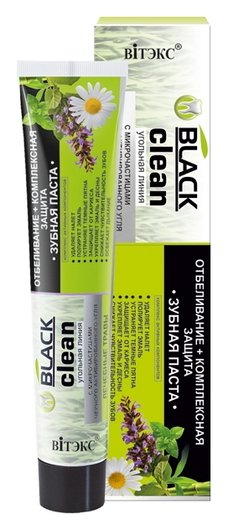 Зубная паста отбеливание+комплексная защита с микрочастицами черного активированного угля и лечебными травами  Белита - Витекс