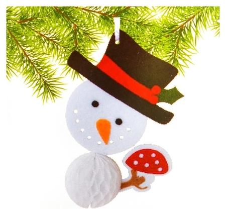 Набор для создания подвесной ёлочной игрушки из фетра и бумаги гофре «Снеговик в шляпе»  Школа талантов