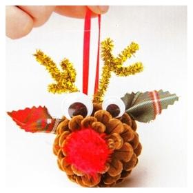 Набор для создания подвесной ёлочной игрушки из шишек «Оленята», набор 4 шт.