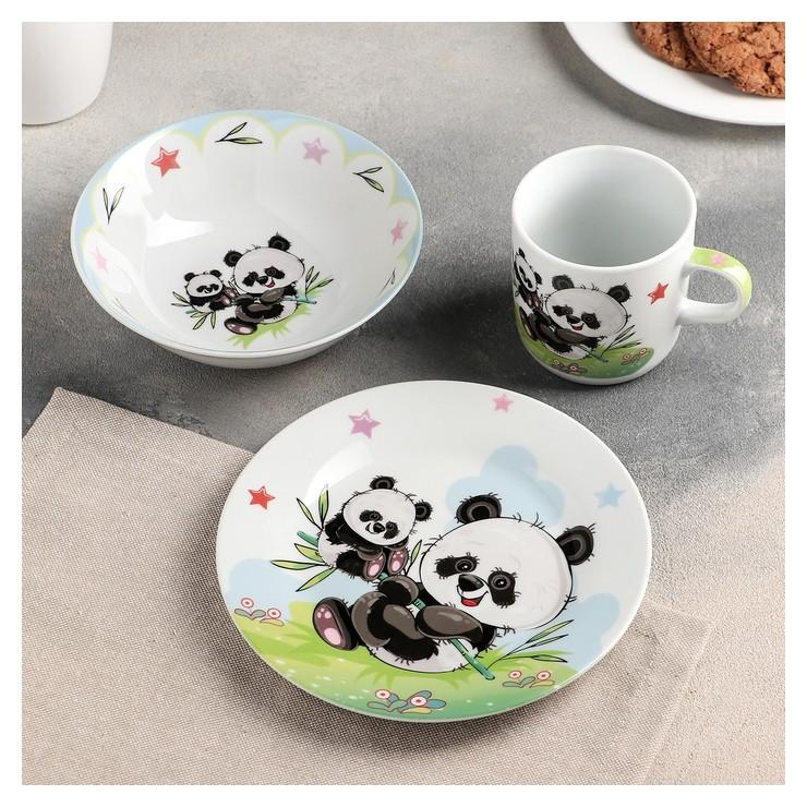 Набор детской посуды «Семья пандочек», 3 предмета: кружка 250 мл, миска 400 мл, тарелка 18 см  Доляна