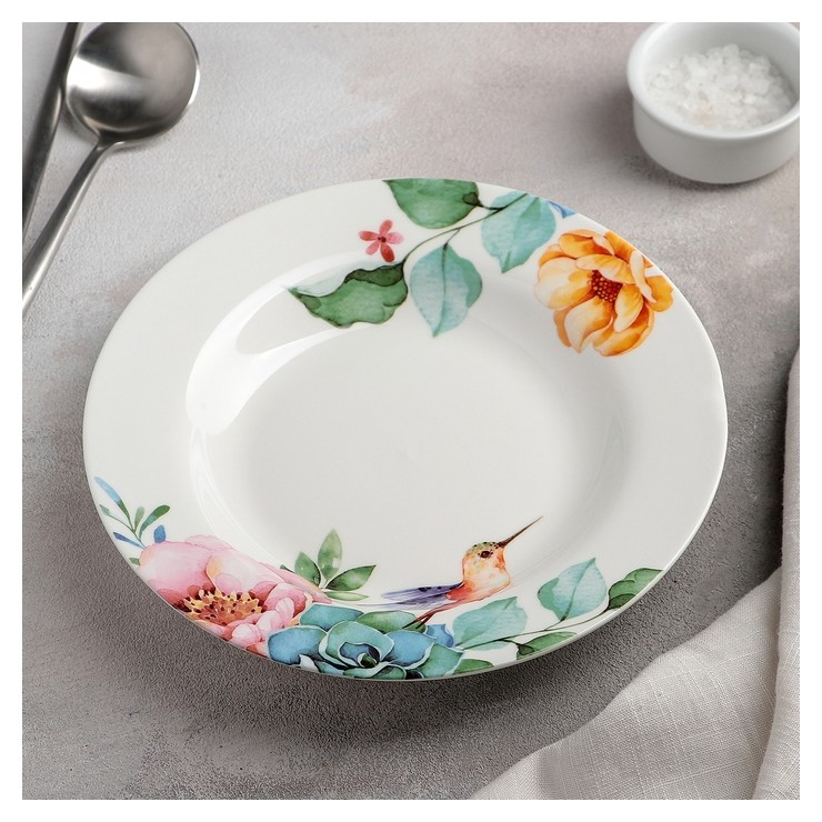 Тарелка суповая «Пташка», 20,2×3,5 см, цвет белый  Доляна