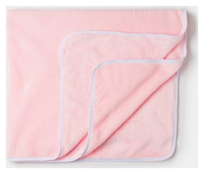 Плед детский нежно розовый 90х100см, велсофт 260г/м пэ100%  Детская линия