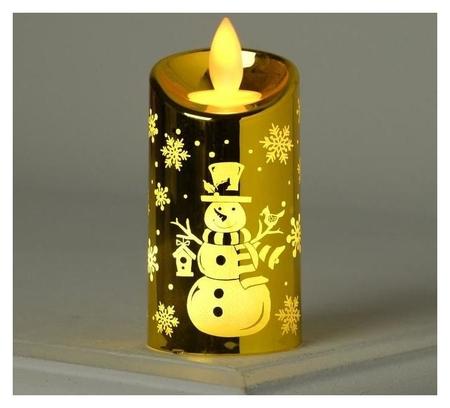 "Фигура световая ""Свеча золото снеговик"", 9х5х5 см, от батареек 2х2032 (В компл.) т/белый  LuazON"