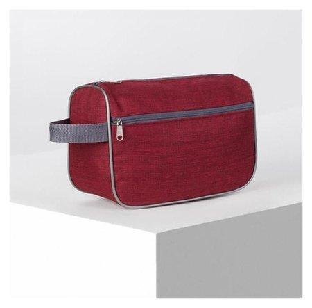Косметичка дорожная, отдел на молнии, наружный карман, цвет бордовый  ЗФТС