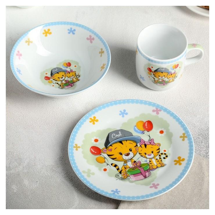 Набор детской посуды «Тигрята», 3 предмета: кружка 250 мл, миска 400 мл, тарелка 18 см  Доляна