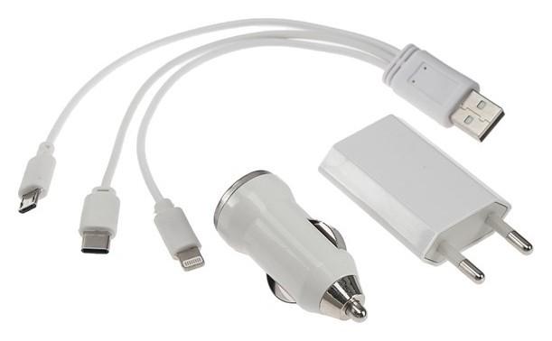 Комплект для зарядки 3 в 1 Luazon,модель Uc-13,type-c/lightning/microusb, азу, СЗУ 1А, белый  LuazON