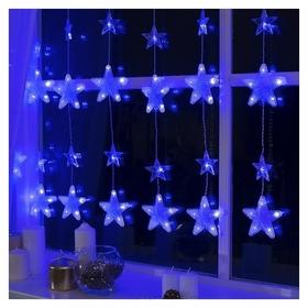 """Гирлянда """"Бахрома""""2.4 х 0.9 м с насадками""""звёздочки"""", Ip20, прозрачная нить, 186 Led, свечение синее, 8 режимов, 220 В  LuazON"""