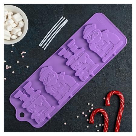 """Форма для леденцов и мороженого 36×12 см """"Дед Мороз"""", 4 ячейки  Доляна"""