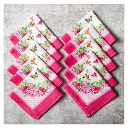 Набор женских носовых платков, принт размер 28х28 см-10 шт, ситец  Monro