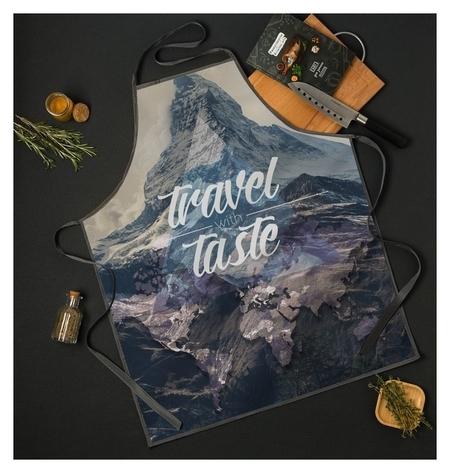 """Фартук """"Travel The Taste"""" 65*80см,100% п/э,оксфорд 210г/м2  Доляна"""