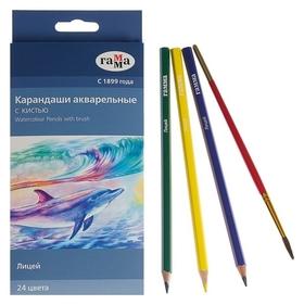 Карандаши цветные акварельные 24 цвета, «Гамма» «лицей», с кистью, шестигранные  Гамма