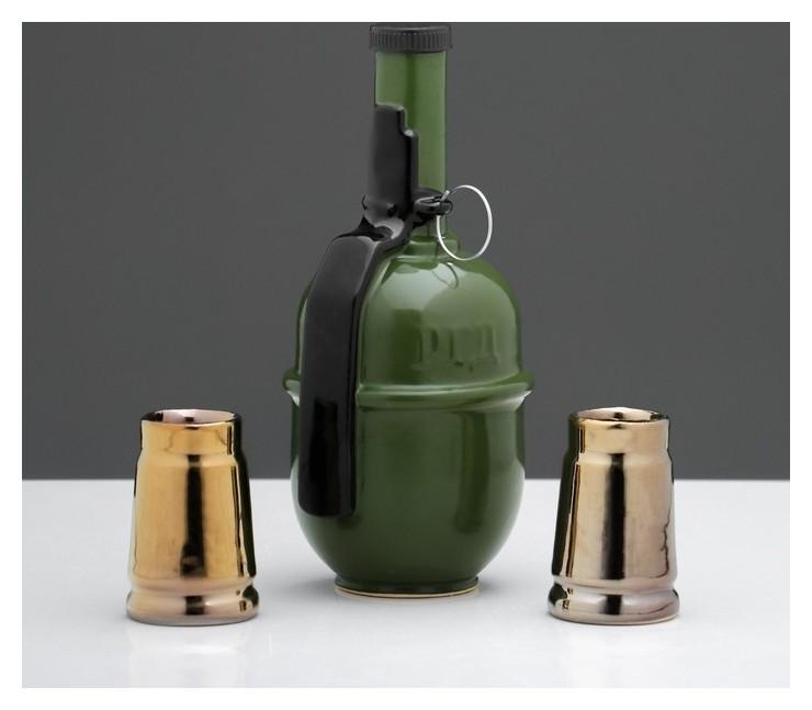 """Набор для коньяка """"Граната ргд"""", 3 предмета в наборе, 0,4 л/0.05 мл  Керамика ручной работы"""