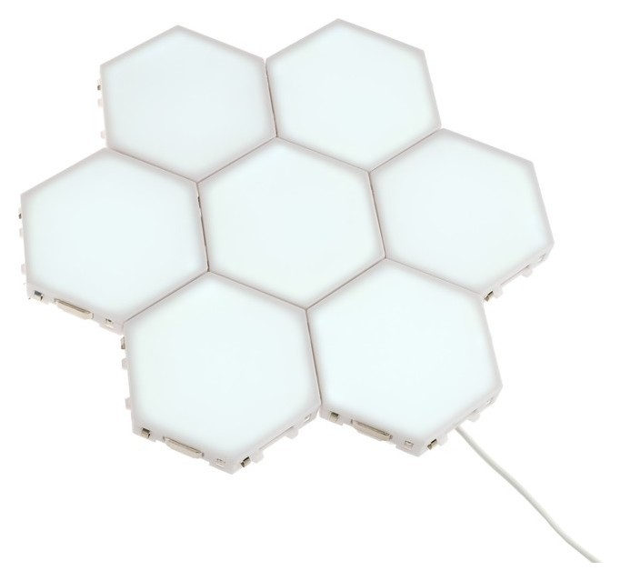 """Набор светильников сенсорных """"Соты"""" 7 штук, 115х100мм, 6500 К, модульные, с блоком питания  LuazON"""