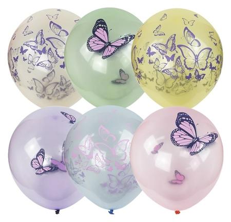"Шар латексный 12"" «Бабочки», кристалл Bubble, набор 25 шт.  Latex Occidental"