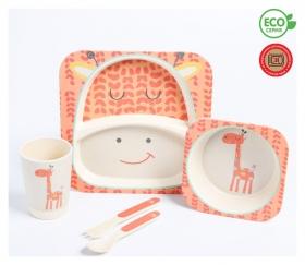 """Набор бамбуковой посуды """"Жираф"""", тарелка, миска, стакан, приборы, 5 предметов  Крошка Я"""