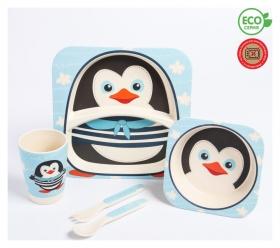 """Набор бамбуковой посуды """"Пингвинчик"""", тарелка, миска, стакан, приборы, 5 предметов  Крошка Я"""