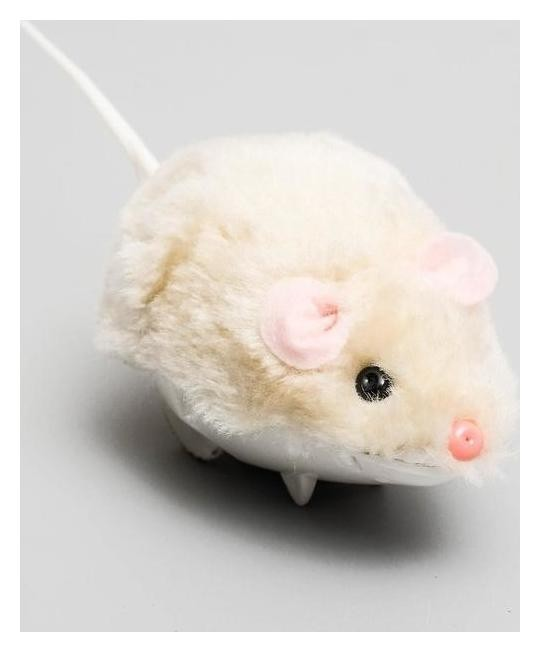 Мышь заводная меховая малая, 8,5 см, бежевая