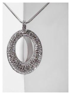 """Кулон """"Свидание"""" овал уплотнённый, цвет белый в серебре, L=70 Queen Fair"""