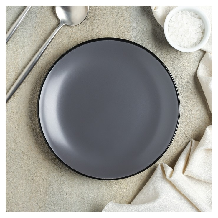 Тарелка десертная «Ваниль», 19 см, цвет серый  Доляна