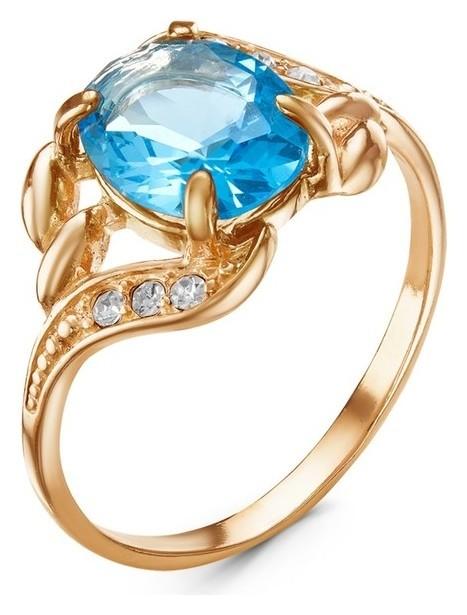 Кольцо Лунное сияние овал, позолота, цвет голубой, 17,5 размер Красная пресня