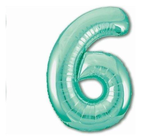 """Шар фольгированный 40"""" «Цифра 6», цвет бискайский зелёный, Slim  Agura"""