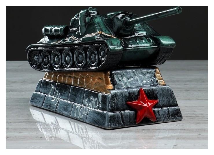 """Копилка """"Танк су-100"""", глянец, чёрно-зелёный цвет, 14 см  Керамика ручной работы"""