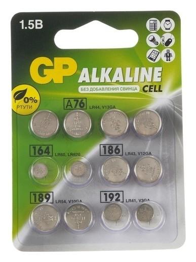 Батарейки алкалин GP, Lr44(A76)-4шт,lr60(164)-2шт,lr43(186)-2шт,lr54(189)-2шт,lr41(192)-2шт  GР