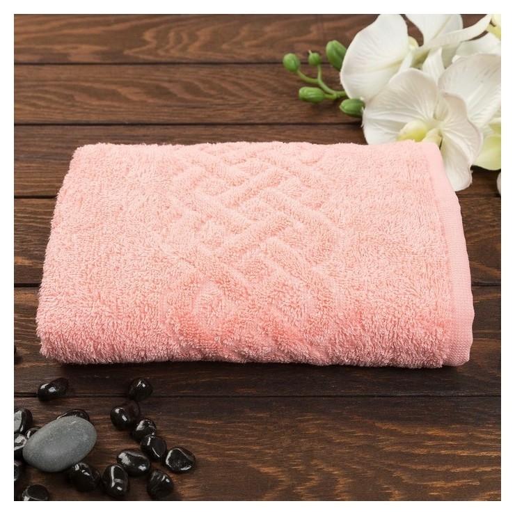 Полотенце махровое «Plait», цвет коралл, 100х150 см  Cleanelly