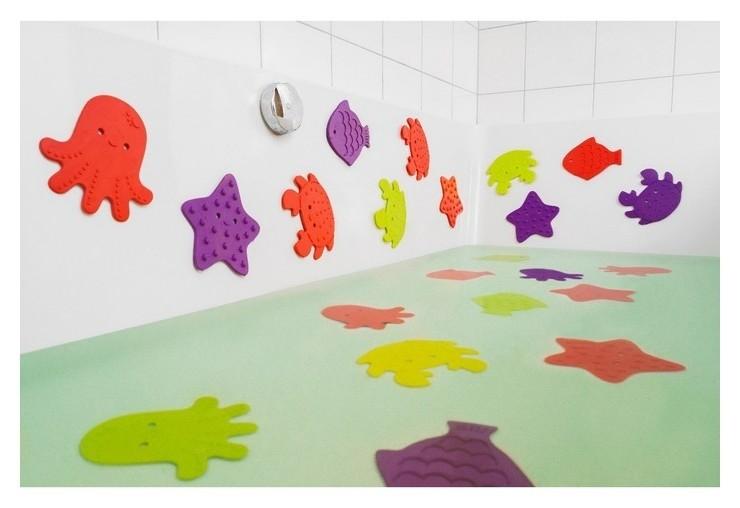 Набор антискользящих мини-ковриков для ванны 12 шт.  Roxy kids
