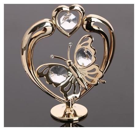 """Сувенир """"Сердце с бабочкой"""", с кристаллами сваровски  Swarovski Elements"""