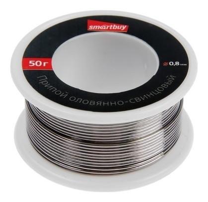 Припой Smartbuy Sbt-siw-50, пос-50, оловянно-свинцовый 60/40, бобина 50 г., D=0.8 мм  Smartbuy