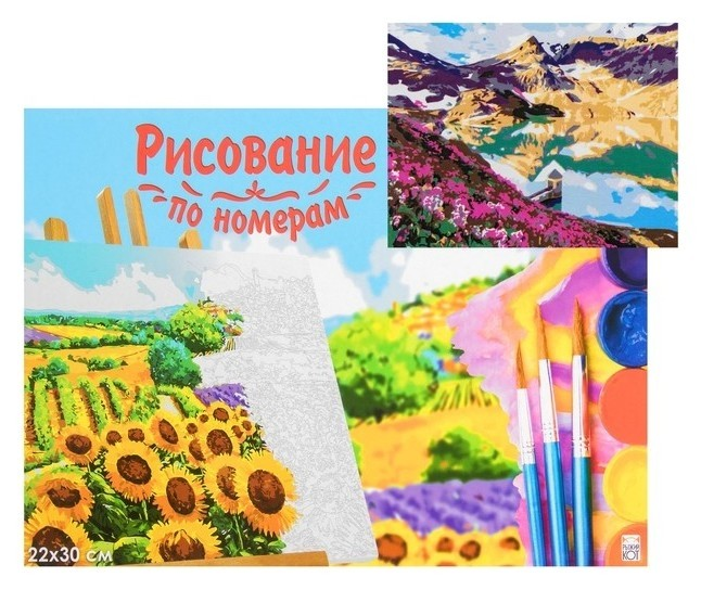 Картина по номерам на холсте 22 × 30 см, «Цветущее поле у озера» Рыжий кот