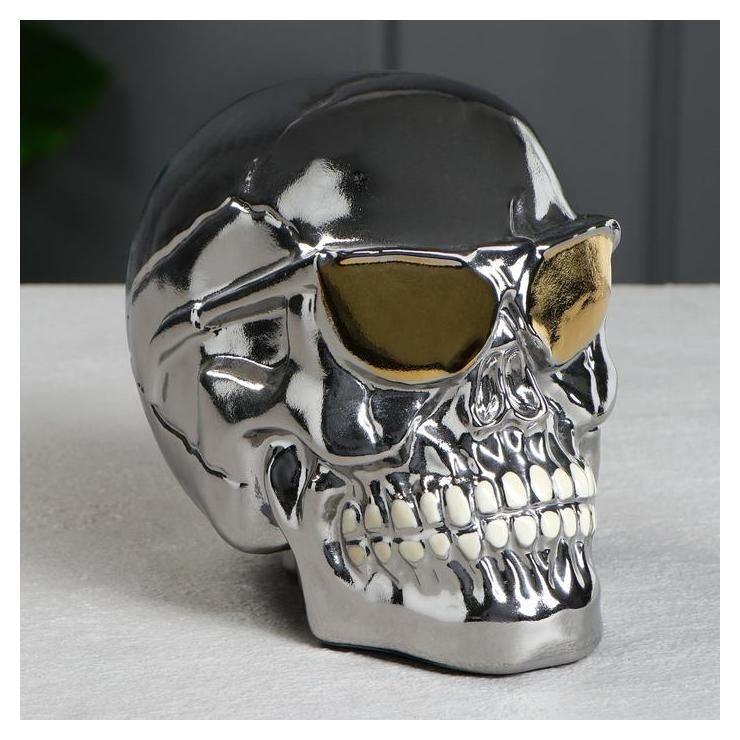 """Копилка """"Череп в очках"""" серебро, 16 см  Керамика ручной работы"""