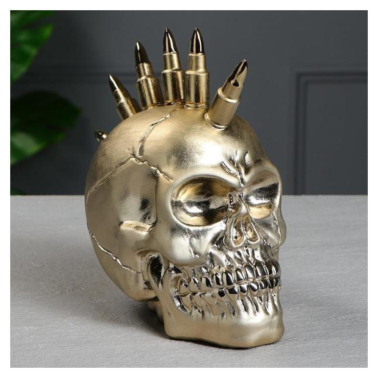 """Копилка """"Череп ирокез"""" золото, 21 см  Керамика ручной работы"""