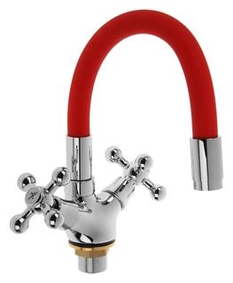 Cмеситель для кухни Accoona A9871n, двухвентильный, силиконовый излив, силумин, красный/хром Accoona