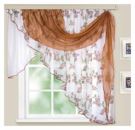 Комплект штор для кухни «Иллюзия», 300х150 см, цвет светло-коричневый  Witerra