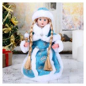 """Снегурочка """"Голубая шубка""""31 см, с посохом, с подсветкой, двигается, без музыки Зимнее волшебство"""