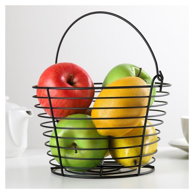 Корзина для фруктов 20×20×13 см, цвет чёрный  Доляна