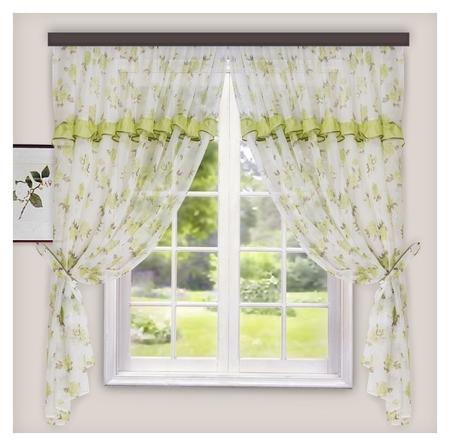 Комплект штор для кухни цветы 280х160 см, зеленый, пэ 100%  Witerra