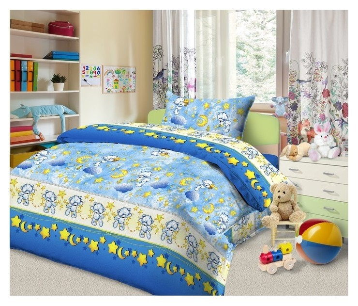 Детское постельное бельё «Сонный мишка» 110х147, 110х150, 40х60 - 1 шт., бязь  Monro