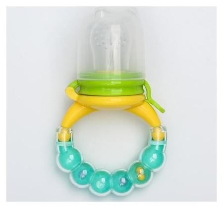 Ниблер для прикорма, с силиконовой сеточкой, ручка-погремушка, цвет зеленый  Крошка Я