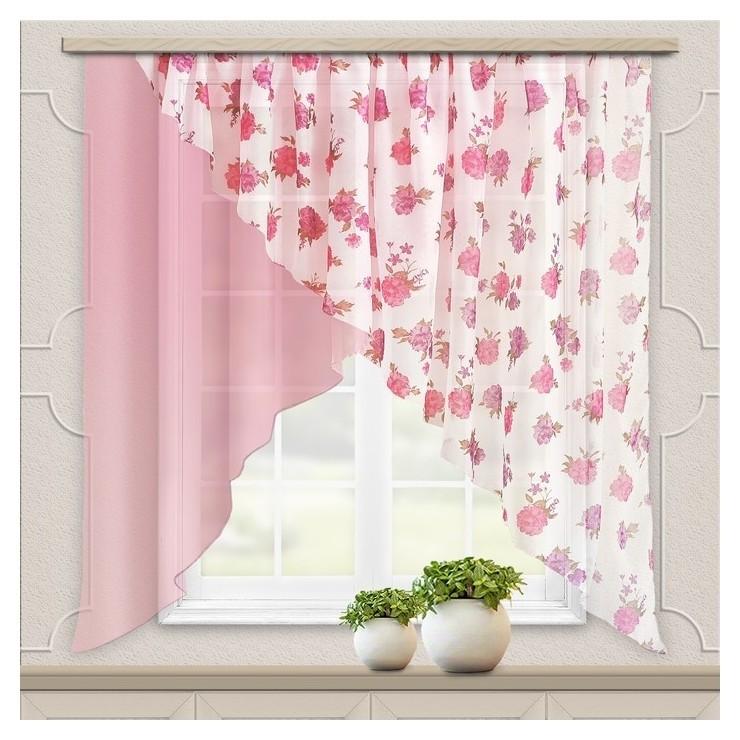 Комплект штор для кухни «Марианна», размер 300х160 см, цвет светло-розовый  Witerra