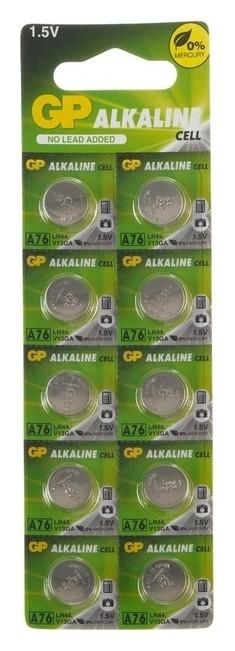 Батарейка алкалиновая GP, Lr44 (G13, V13ga, A76)-10bl, 1.5в, блистер, 10 шт.  GР