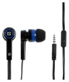 Наушники Defender Pulse 420, вакуумные, микрофон, 105 дБ, 32 Ом, 3.5 мм, 1.2 м, чёрно-синие