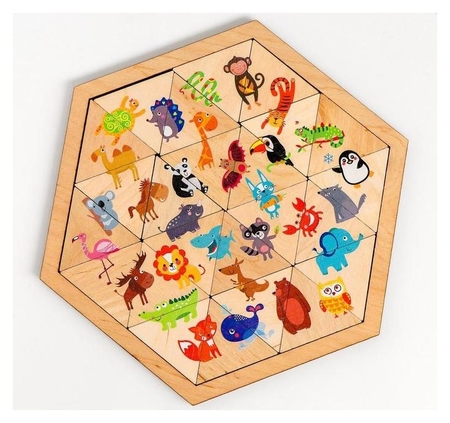 Пазл деревянный «Весёлый зоопарк» (Занимательные треугольники)